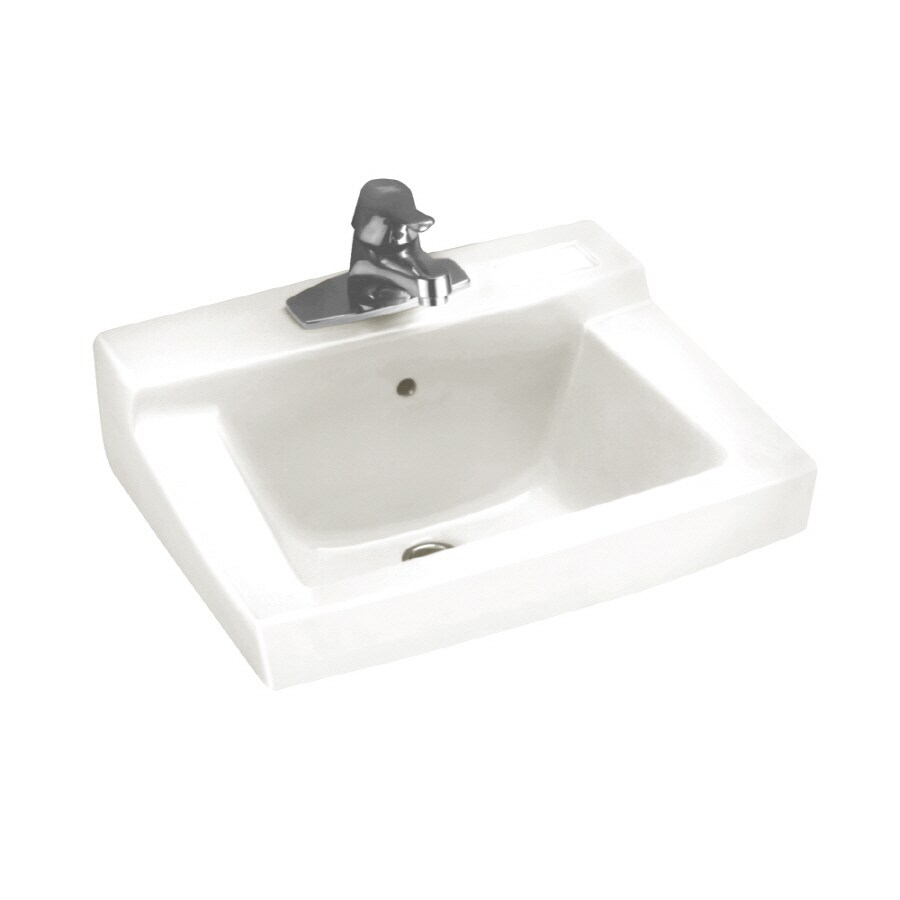American Standard Declyn White Wall-Mount Rectangular Bathroom Sink with Overflow