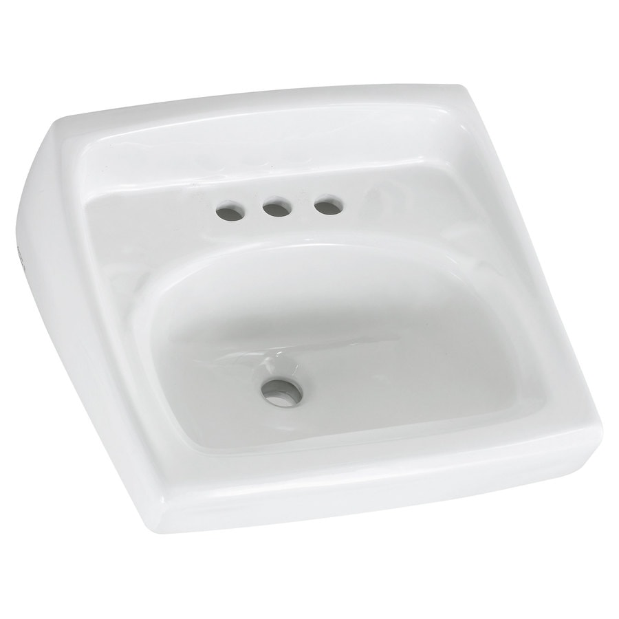American Standard Lucerne White Wall-Mount Rectangular Bathroom Sink with Overflow