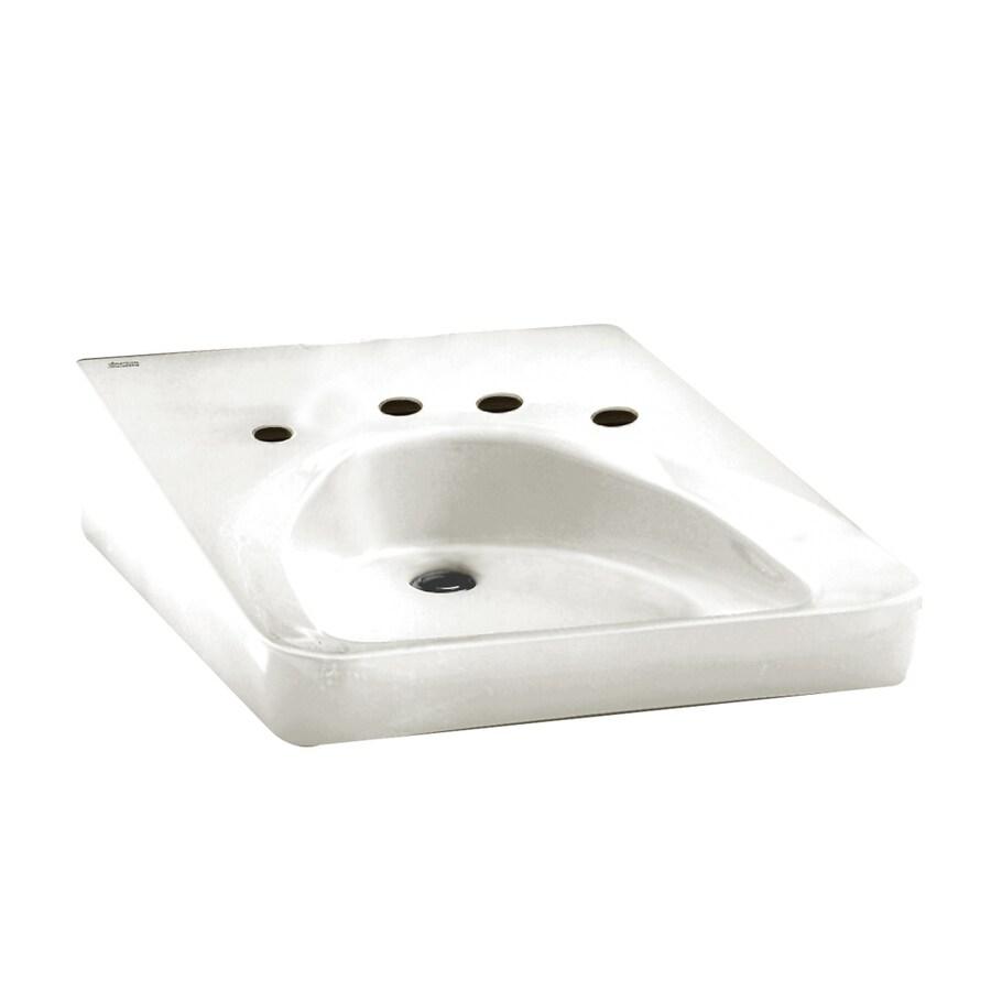 White Wall Mount : ... Standard Wheelchair Users White Wall-Mount Rectangular Bathroom Sink