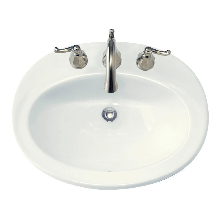 American Standard Piazza White Drop-In Oval Bathroom Sink with Overflow