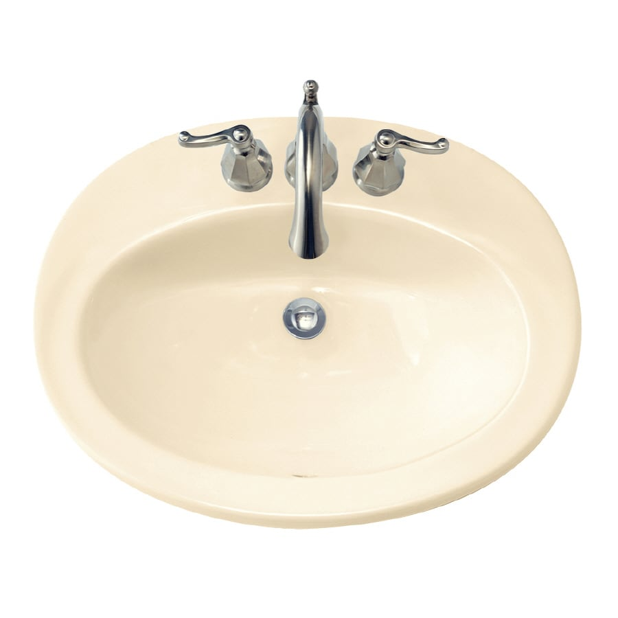 American Standard Piazza Bone Drop-In Oval Bathroom Sink with Overflow