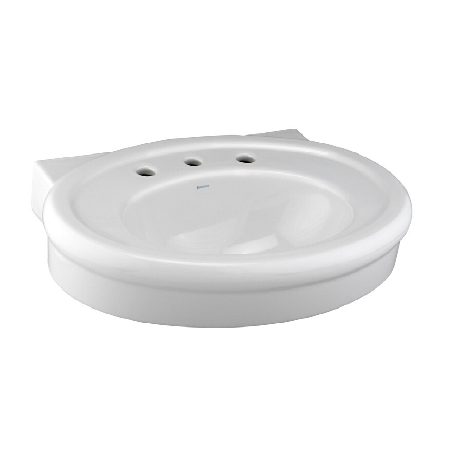 American Standard Standard 28-in L x 10-in W White Fire Clay Oval Pedestal Sink Top