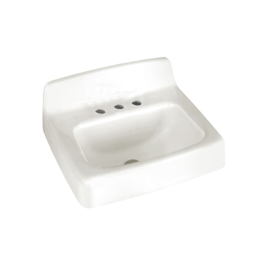 American Standard Regalyn White Cast Iron Wall-Mount Rectangular Bathroom Sink with Overflow