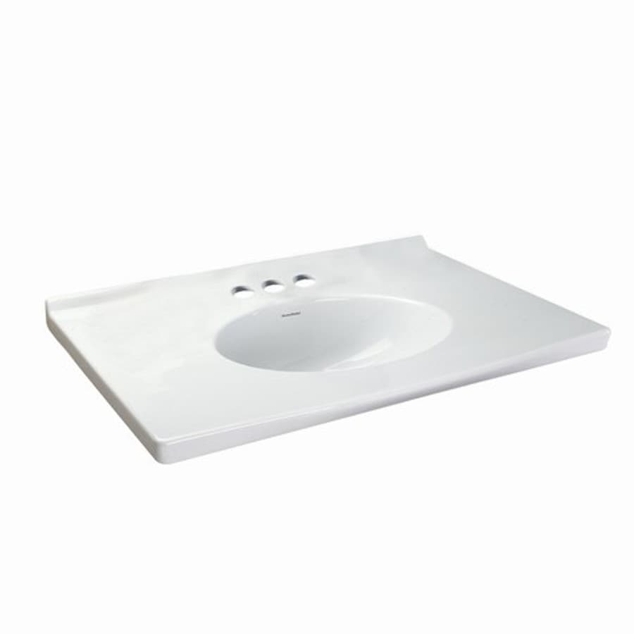 American Standard Portsmouth White Fire Clay Integral Single Bathroom Vanity Top (Common: 31-in x 22-in; Actual: 31.125-in x 22.875-in)