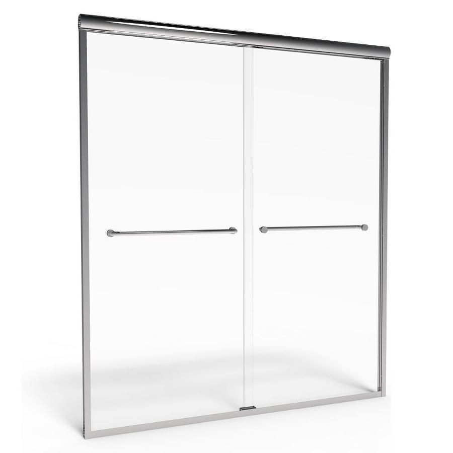American Standard Euro 40-in to 44-in W x 65.5-in H Silver Sliding Shower Door