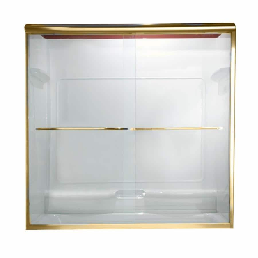 American Standard Euro 56-in to 60-in W x 70-in H Polished Brass Sliding Shower Door