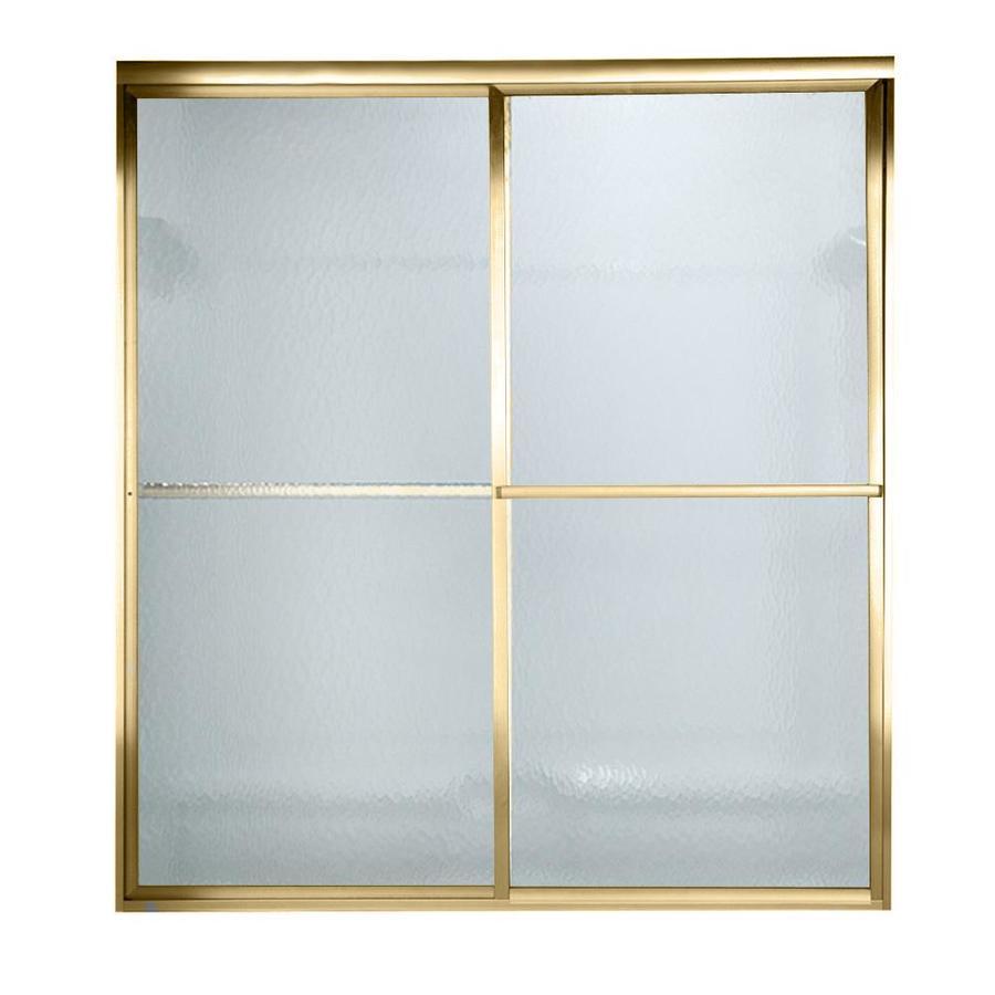 American Standard Prestige 52-in to 54-in W x 68-in H Polished Brass Sliding Shower Door