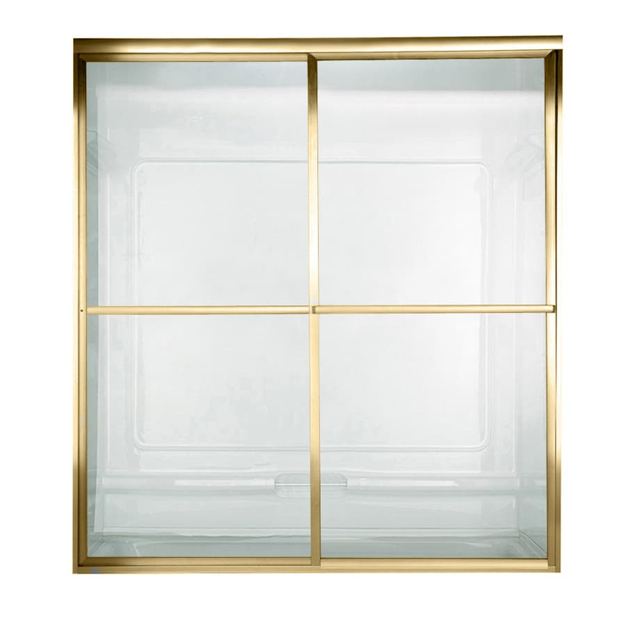 American Standard Prestige 44-in to 46-in W x 68-in H Polished Brass Sliding Shower Door