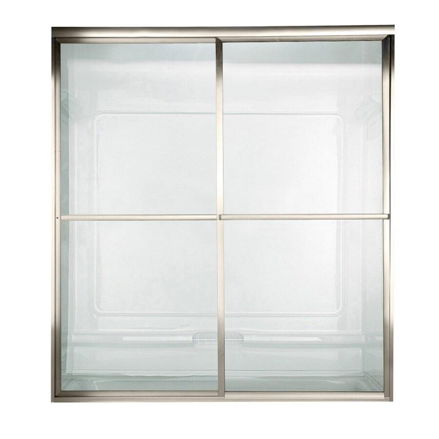 American Standard Prestige 60-in W x 58.5-in H Matte Nickel Bathtub Door