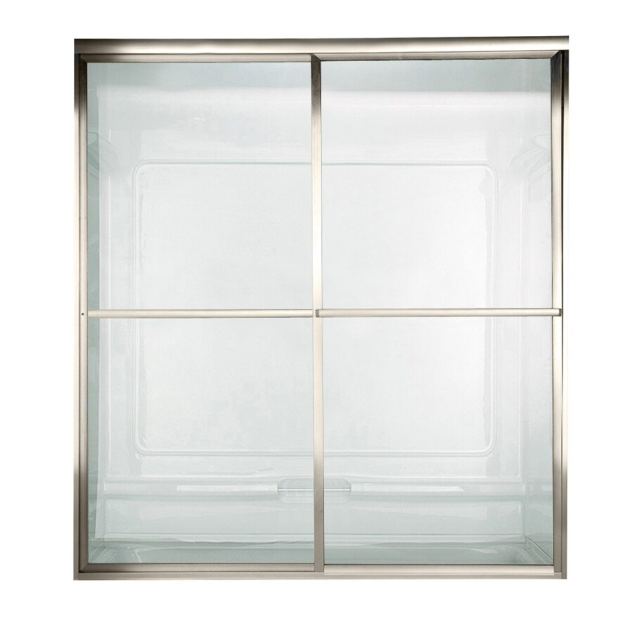 American Standard Prestige 46-in to 48-in W x 71.5-in H Polished Nickel Sliding Shower Door