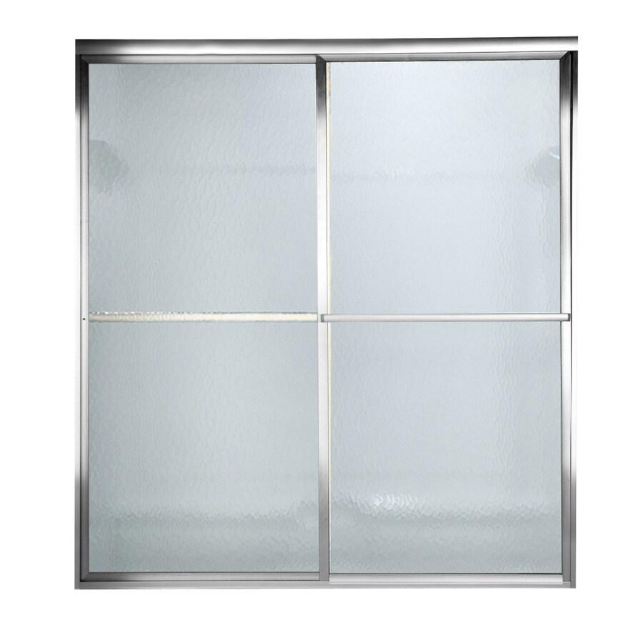 American Standard Prestige 56-in to 60-in W x 71.5-in H Silver Sliding Shower Door