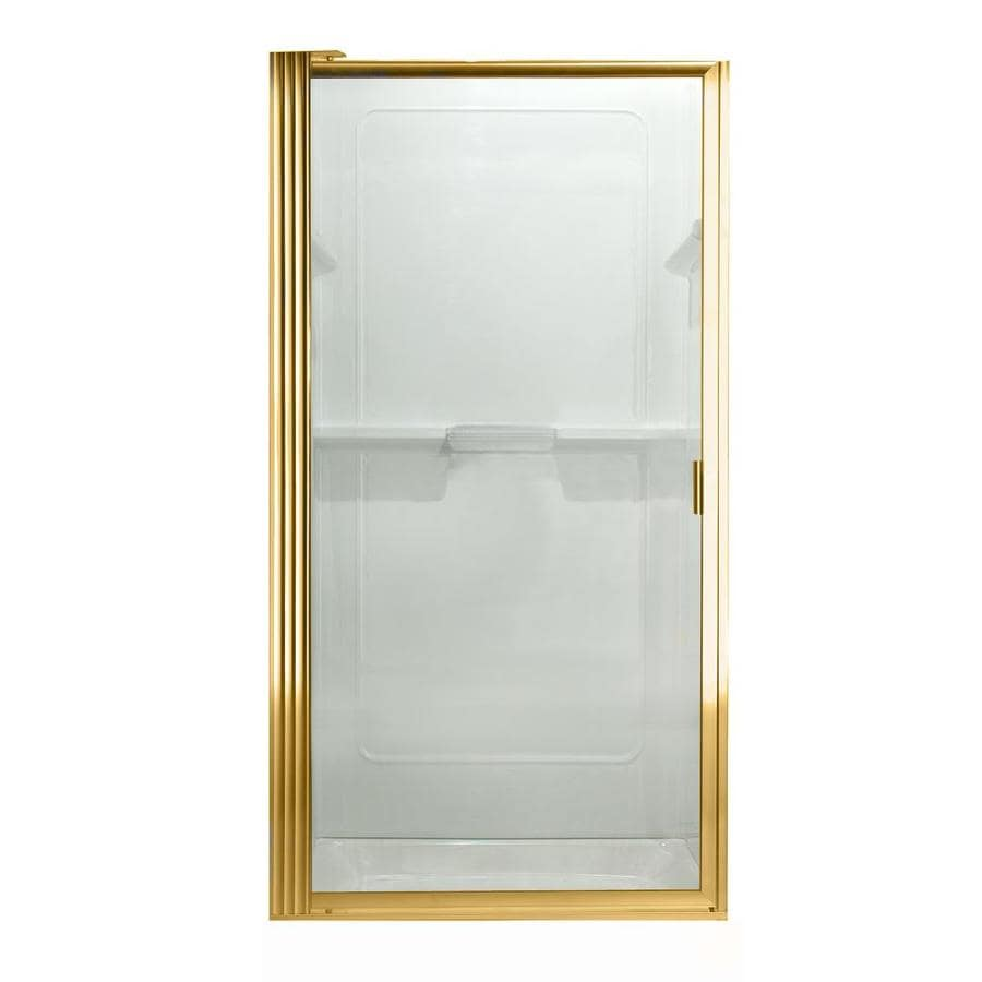 shop american standard to 26 in polished brass pivot shower door at. Black Bedroom Furniture Sets. Home Design Ideas