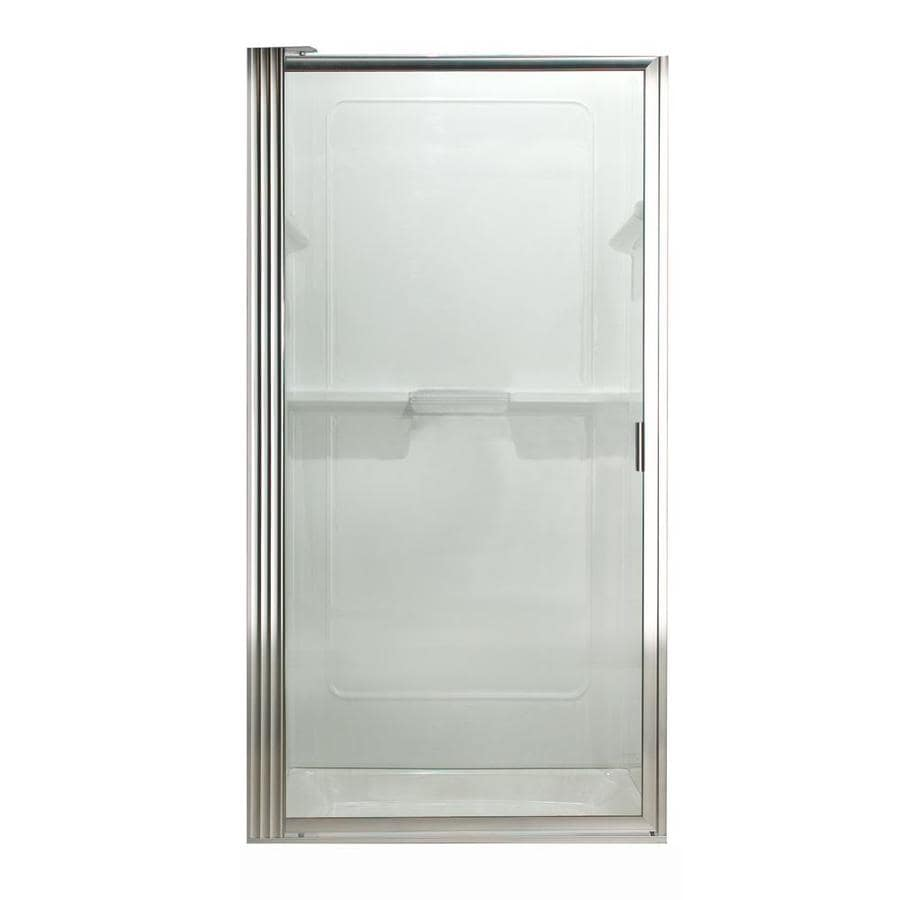 American Standard 33-1/8-in to 34-7/8-in Silver Framed Pivot Shower Door