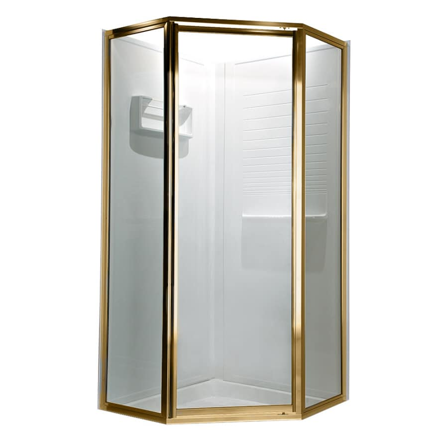 American Standard 59-in W x 68-1/2-in H Polished Brass Neo-Angle Shower Door
