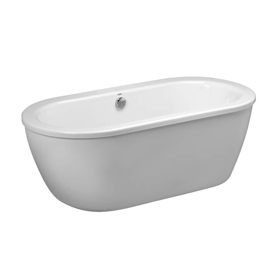 American Standard Clean Arctic White Acrylic Oval Freestanding Bathtub with Center Drain (Common: 30-in x 64-in; Actual: 23-in x 30.625-in x 64.625-in)