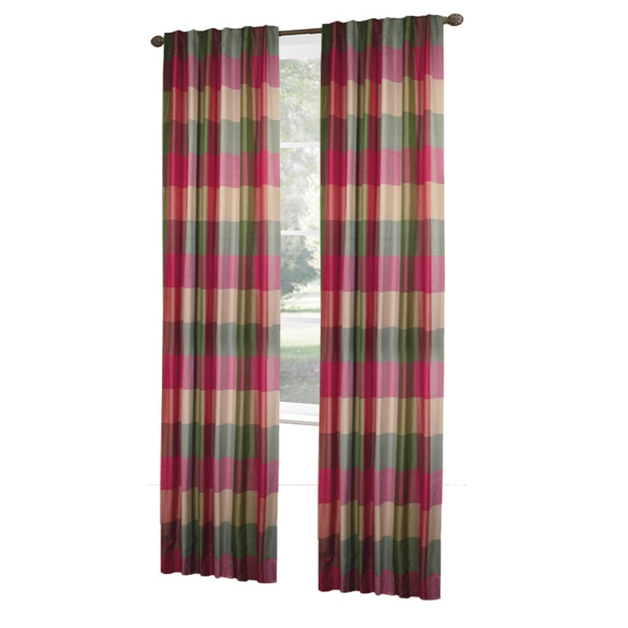 allen + roth Emilia 84-in Raspberry Polyester Rod Pocket Light Filtering Standard Lined Single Curtain Panel