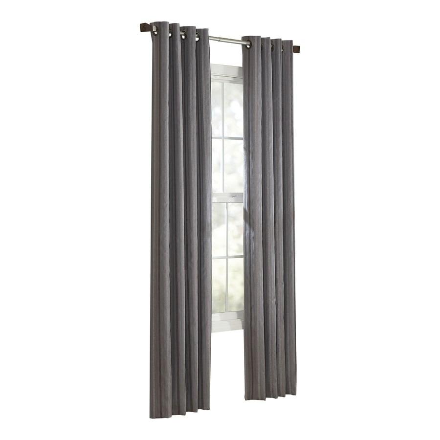 allen + roth City Park 95-in Slate Polyester Grommet Light Filtering Single Curtain Panel