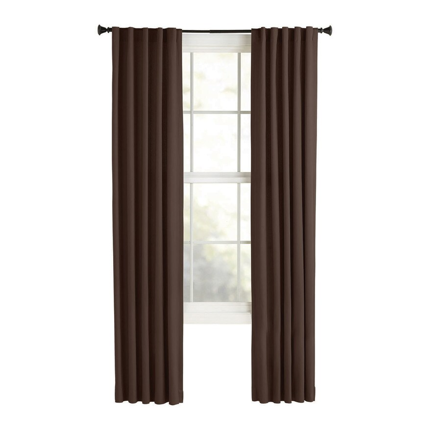 Style Selections Bernard 63-in Dark Brown Polyester Back Tab Light Filtering Single Curtain Panel
