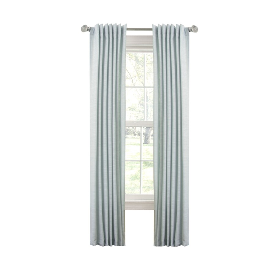 allen + roth Evington 95-in L Solid Mineral Blue Back Tab Curtain Panel