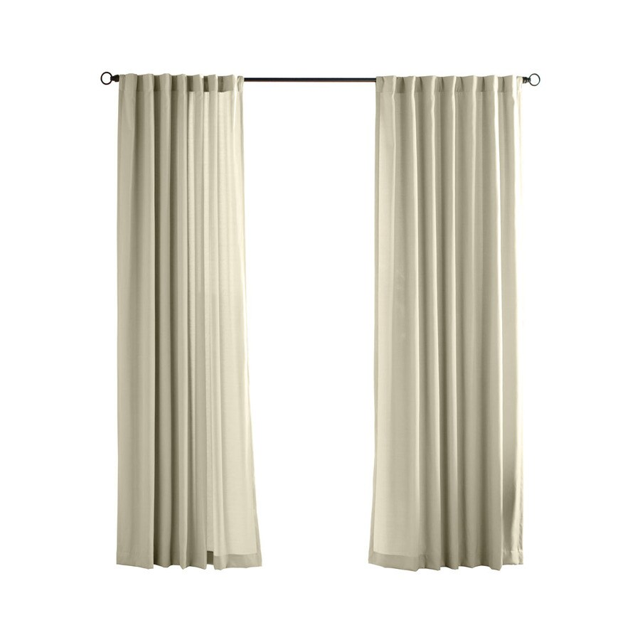 Solaris Canvas Solid 96-in Cream Polyester Back Tab Light Filtering Single Curtain Panel
