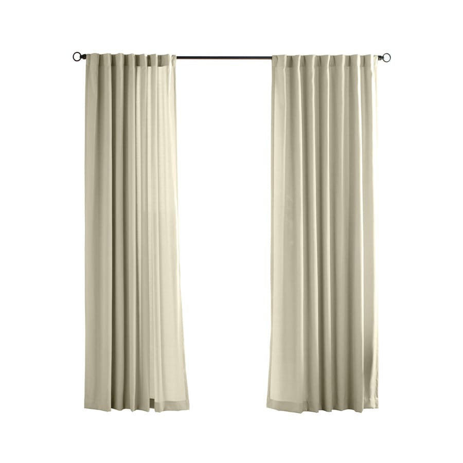 Solaris Canvas Solid 108-in Cream Polyester Back Tab Light Filtering Single Curtain Panel