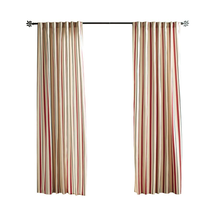 Solaris Cabana Stripe 96-in Red Polyester Back Tab Light Filtering Single Curtain Panel