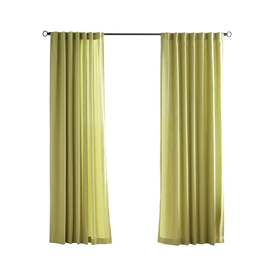 Solaris Canvas Solid 96-in Kiwi Polyester Back Tab Light Filtering Single Curtain Panel