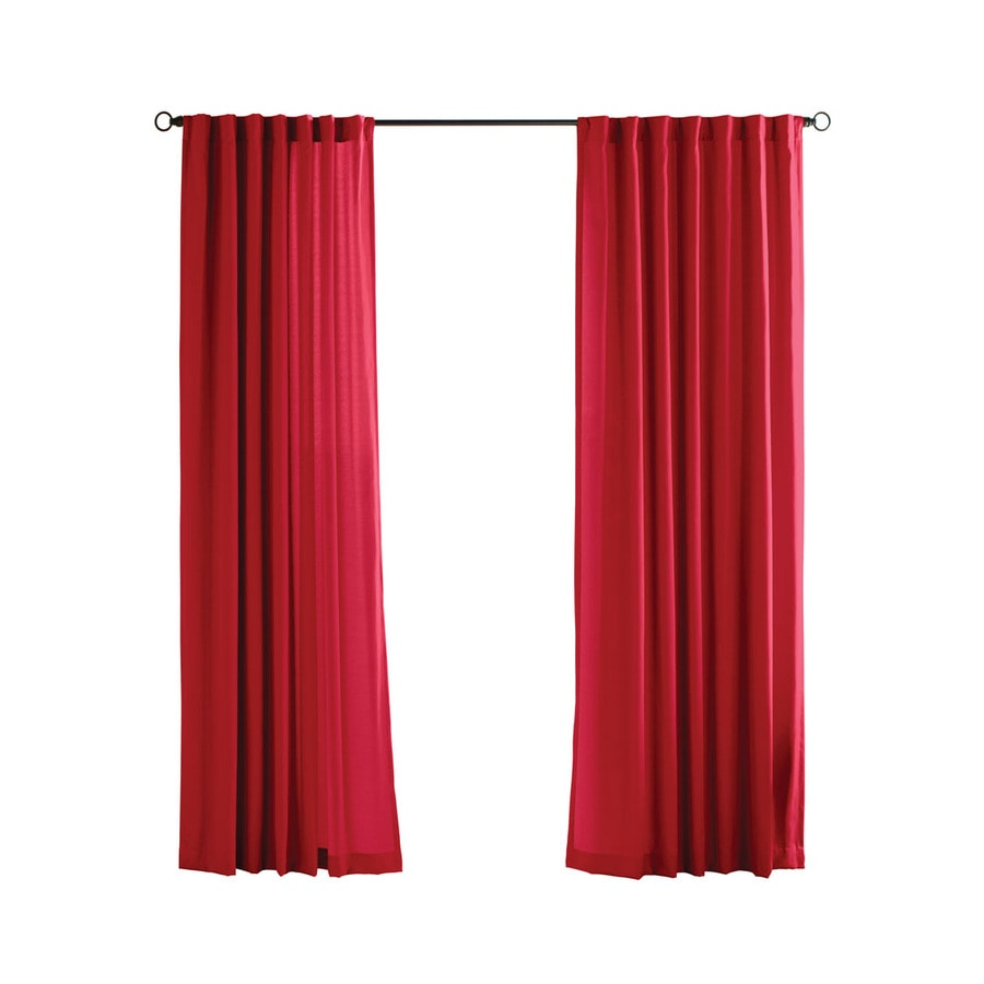 Solaris Canvas Solid 108-in Red Polyester Back Tab Light Filtering Single Curtain Panel