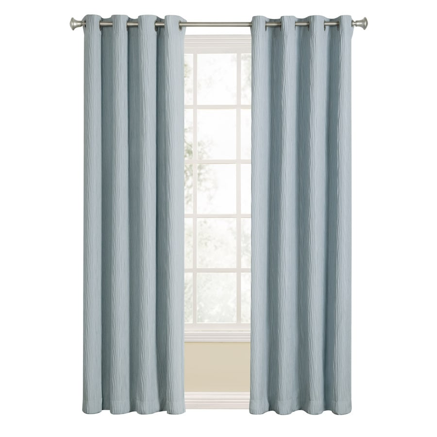 allen + roth Aberleigh 84-in Slate Blue Polyester Grommet Light Filtering Single Curtain Panel