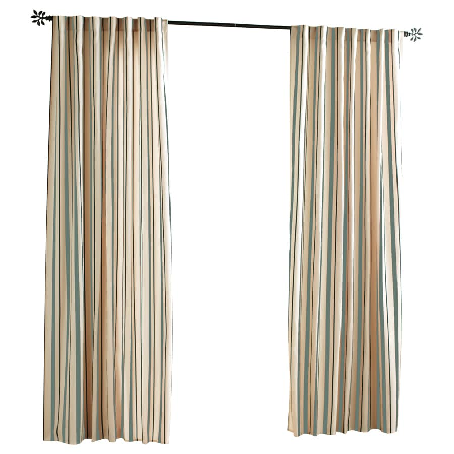 Solaris Cabana Stripe 108-in Mineral Polyester Back Tab Light Filtering Single Curtain Panel