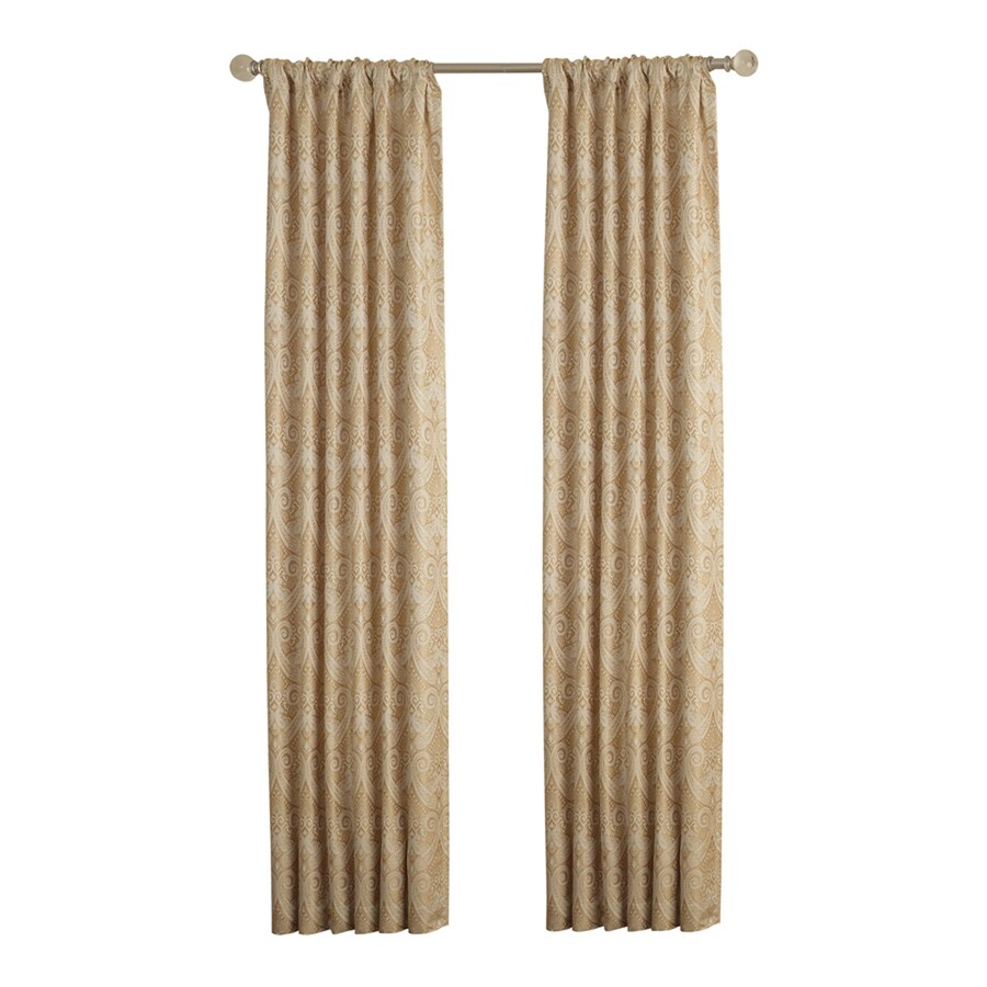 allen + roth Raja 63-in Gold Polyester Rod Pocket Light Filtering Standard Lined Single Curtain Panel