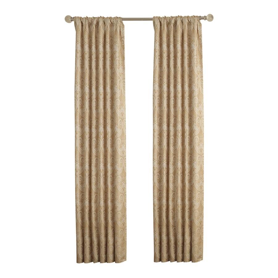allen + roth Raja 95-in Gold Polyester Rod Pocket Light Filtering Standard Lined Single Curtain Panel