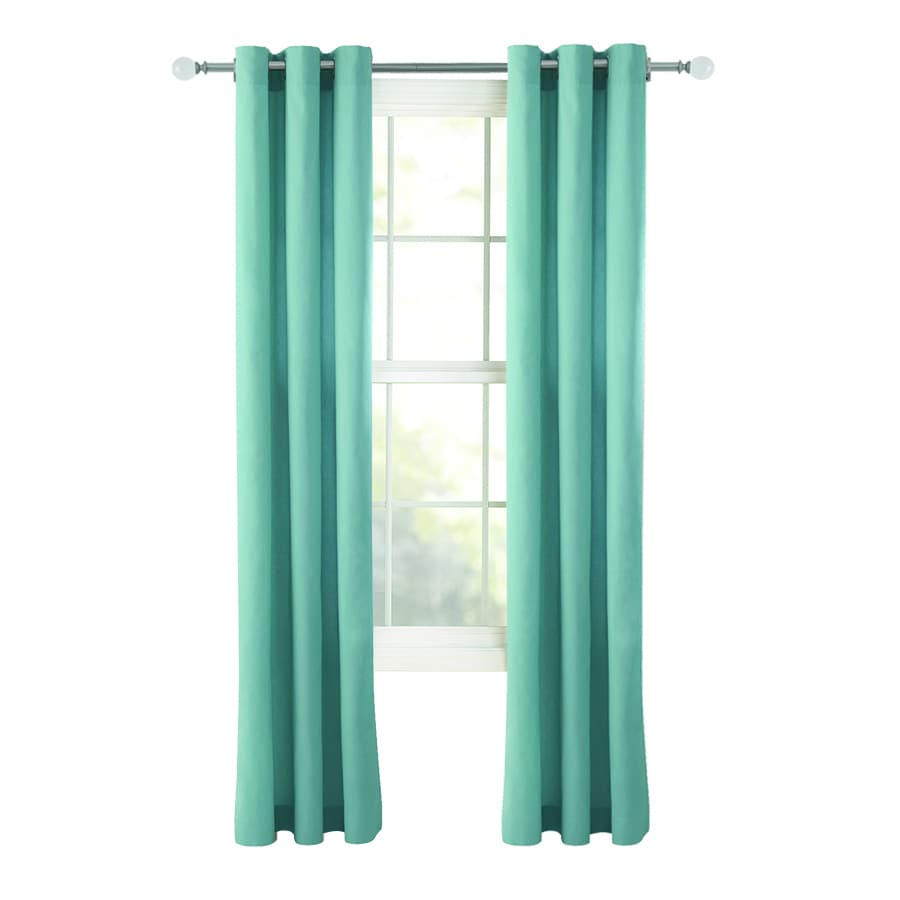 Style Selections Bernard 63-in Blue Cotton Grommet Light Filtering Single Curtain Panel