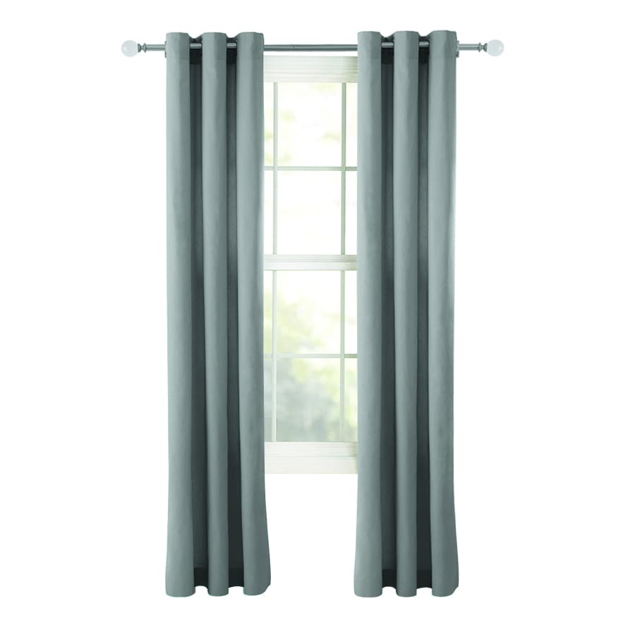 Style Selections Bernard 84-in Grey Cotton Grommet Light Filtering Single Curtain Panel