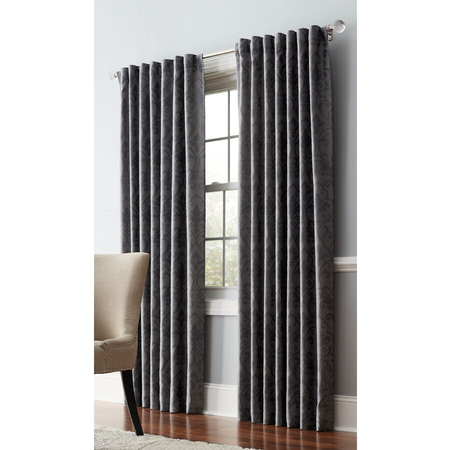allen + roth Volney 84-in Pewter Polyester Back Tab Light Filtering Standard Lined Single Curtain Panel