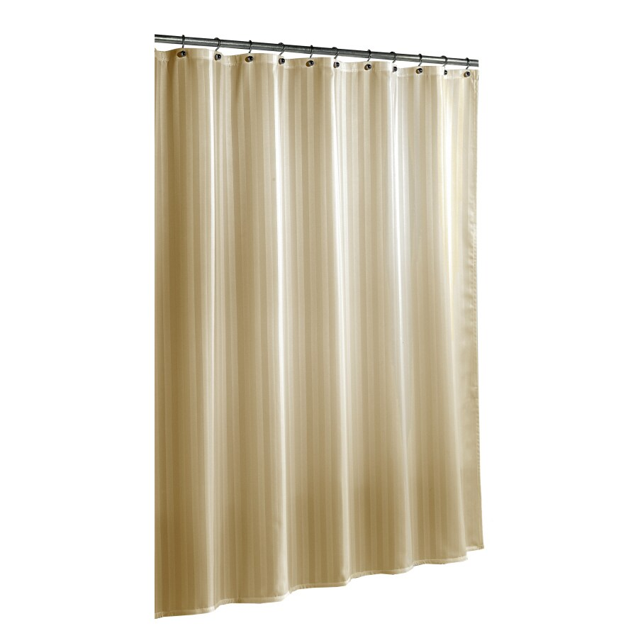 allen + roth Polyester Taupe Striped Shower Curtain