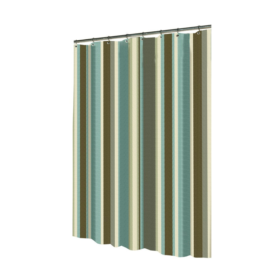 allen + roth Polyester Multicolor Striped Shower Curtain