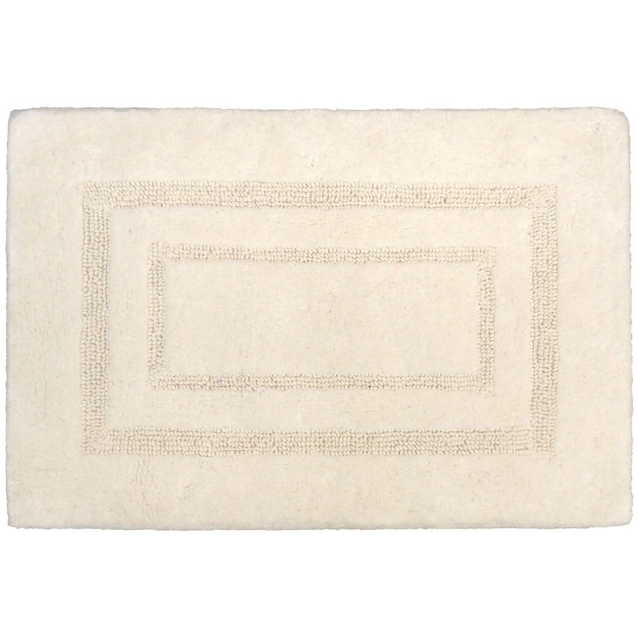 allen + roth 17-in x 24-in White Cotton Bath Mat