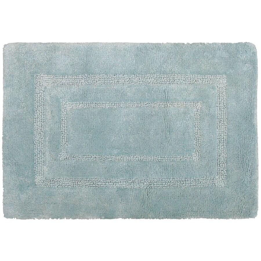 allen + roth 17-in x 24-in Teal Cotton Bath Rug
