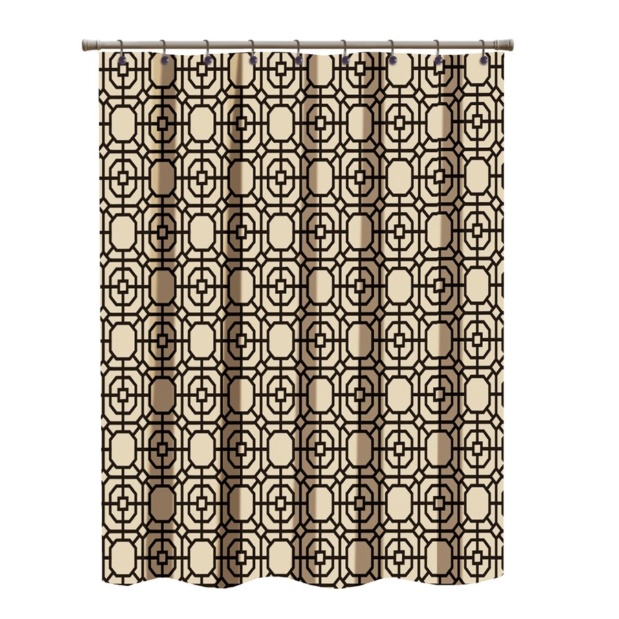 Polyester Brown Patterned Shower Curtain