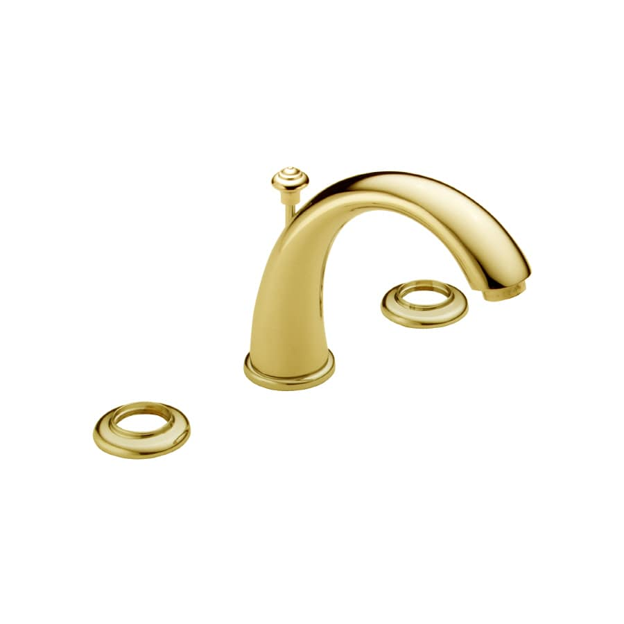 Shop Delta C Spout Polished Brass 2 Handle Widespread Watersense Bathroom Faucet Drain Included