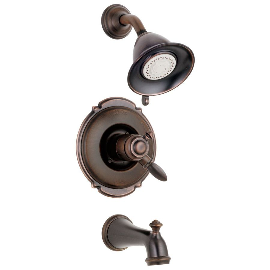 Delta Victorian Venetian Bronze 1-Handle WaterSense Bathtub and Shower Faucet with Multi-Function Showerhead