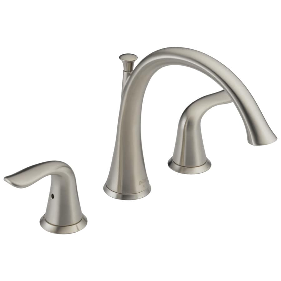 shop delta lahara stainless 2 handle adjustable deck mount bathtub faucet at