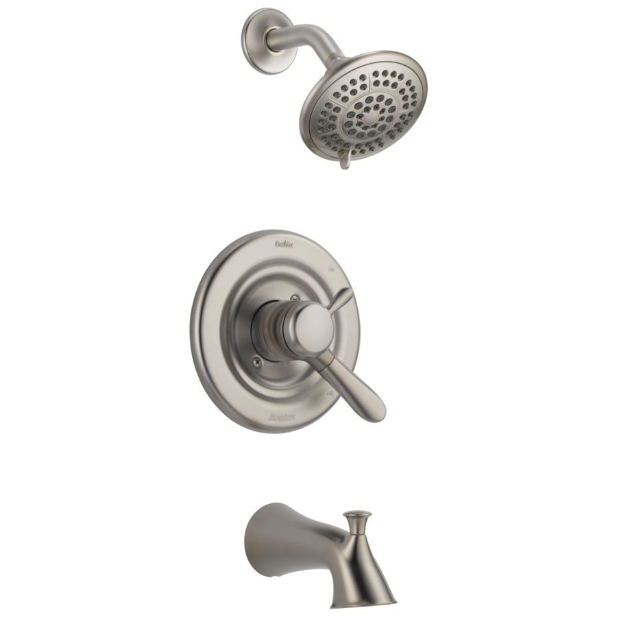 Delta Lahara Stainless 1 Handle Bathtub And Shower Faucet In The Shower Faucets Department At Lowes Com