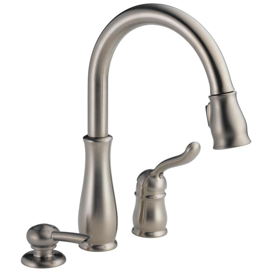 Single-handle-pulldown-kitchen-faucet-with-features-stream-and-spray-aerators Kitchen Faucet Separate Handle