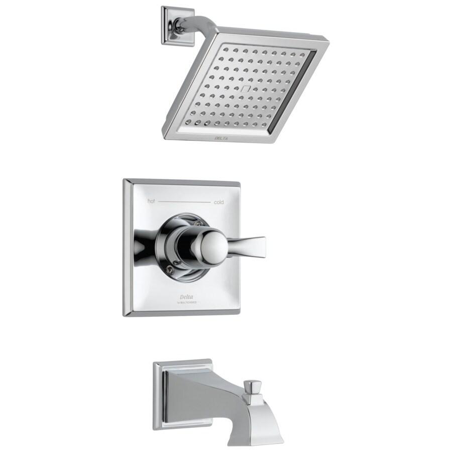 Delta Dryden Chrome 1-Handle Bathtub and Shower Faucet Trim Kit with Rain Showerhead