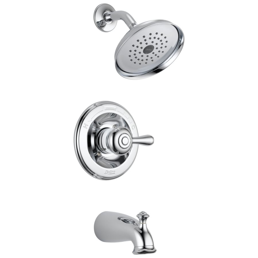 Delta Leland Chrome 1-Handle WaterSense Bathtub and Shower Faucet Trim Kit with Single Function Showerhead