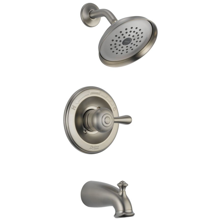 Delta Leland Stainless 1-Handle WaterSense Bathtub and Shower Faucet Trim Kit with Single Function Showerhead