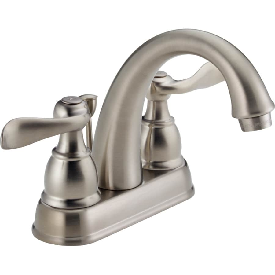 Delta Windemere Brushed Nickel 2-Handle 4-in Centerset WaterSense Bathroom Faucet (Drain Included)