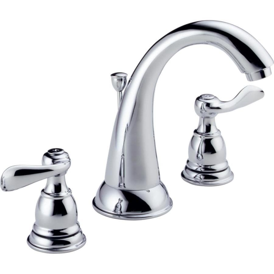 Delta Windemere with Plastic Drain Chrome 2-Handle Widespread WaterSense Bathroom Faucet (Drain Included)